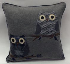 wool applique | Vintage Owl Applique On A Wool, Effect, Grey&Brown £6.99
