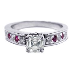 Asscher Cut Diamond Engagement Ring with Pink Sapphires and Round Diamonds