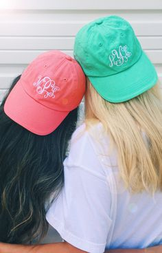 If you and your BFF don't have matching Monogrammed Baseball Hat's from Marleylilly.com, are you really BFFs? ;)