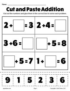 FREE Printable Cut and Paste Addition Worksheet! Practice simple addition skills with your kindergarten and first graders using this free cut and paste worksheet! Get the addition worksheet here --> https://www.mpmschoolsupplies.com/ideas/7945/free-printable-cut-and-paste-addition-worksheet/