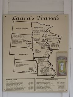 Here is a map of Laura Ingalls Wilder's travels through the Little House on the Prairie books