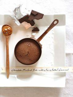 Molten chocolate fondants with sea-salt caramel sauce; calorie-free! (not really..)