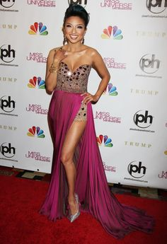 jeannie mai on the miss universe 2012 red carpet. i love this whole outfit -- so gorgeous!