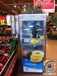 Automatic pineaple slicer in French supermarket