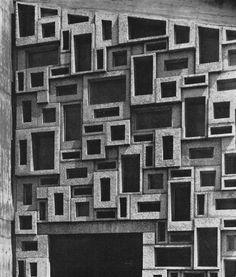 Esch and Himmelein.wall in glazed precast concrete blocks of the protestant church in Leverkusen, Precast Concrete, Concrete Tiles, Concrete Blocks, Concrete Design, Facade Architecture, Amazing Architecture, Brutalist, Mid Century Design, Cladding