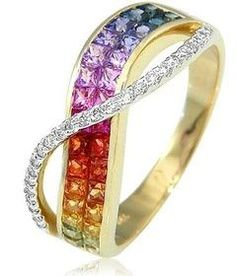 18K Yellow Gold Rainbow Sapphire Diamond Ring