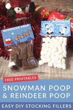 01614bcda04 Quick and easy chocolate stocking fillers for kids. Free printables are  included for both Reindeer
