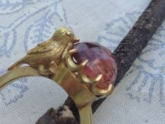PEACH TORMALINE GOLD RING WITH BIRD - MONICA G JEWELS