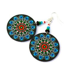polish Folk Earrings from @MADEbyMADA $17 #crafts #folk #rosette #fashion #jewelry #earrings #handmade