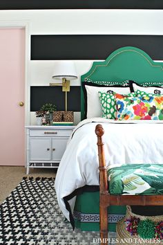 Teen Girl's Bedroom Reveal || One Room Challenge || Bold Color Black, White, and Green Bedroom