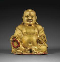 Statuette de Budai en bronze doré, fin de la dynastie Ming-début de la dynastie Qing