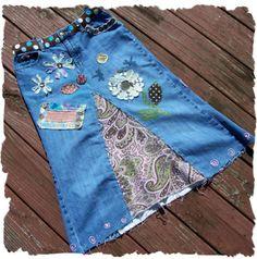 Custom Altered Jeans Denim Skirt by jakboutique on Etsy, $110.00