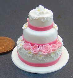 1;12 Scale Pink & White 3 Tier Wedding Cake Dolls House Miniature Accessory s | eBay