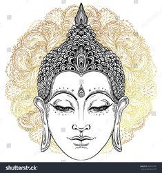 Head of Buddha. Vector illustration over ornate mandala. Beautifully detailed face, serene. Vintage decorative elements. Indian, Buddhism, Spiritual motifs. Tattoo, yoga, spirituality.