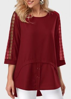 Mesh Panel Round Neck Asymmetric Hem Burgundy Blouse, new colors for you, hope you like it, free shipping worldwide at rosewe.com