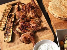 Easy Grilled Cornish Hens and Zucchini With Greek Marinade, Tzatziki, and Greek Salad Recipe | Serious Eats