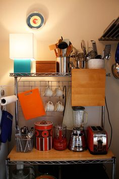 Tiny kitchen: organization station butcher block