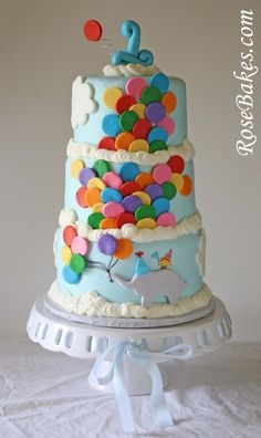 Bright Circus Cake with Lots of Balloons and Circus Animal Cookies Pretty Cakes, Cute Cakes, Beautiful Cakes, Amazing Cakes, Carnival Cakes, Circus Cakes, Cake Cookies, Cupcake Cakes, Elephant Cookies