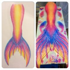 Finfolk Productions tail - client's rendition of what they want and the final product! Finfolk Mermaid Tails, Mermaid Fin, Mermaid Tale, Realistic Mermaid Tails, Professional Mermaid, Silicone Mermaid Tails, Mermaid Under The Sea, Beautiful Mermaid, Mermaids And Mermen