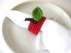 Crochet - Red Apple Napkin Ring for mother in law