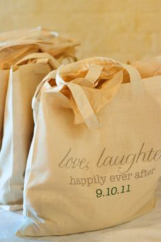 cute wedding gift bag- love, laughter, happily ever after.