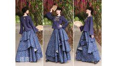 Sublime jupe superpositions fleurs couleur bleu Création Boshow TU