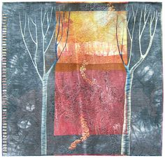 Linda Kemshall. Curved seam piecing, stenciling, free motion quilting and paint with shell button embellishment. A true artist just working in fabric. Lovely.