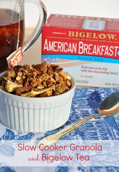 When paired with a cup of Bigelow's American Breakfast tea, this Healthy Slow Cooker Apple Cinnamon Granola is a nutritious, energizing breakfast to power me through my morning.