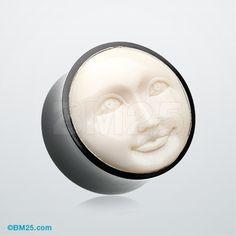 A Pair of Mystic Moon Face Organic Ear Gauge Plug