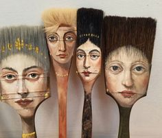 Kunst Ideen - Surrealist Artist Paints Unique Portraits on Worn Paintbrushes and Other Found O. Paint Brush Art, Paint Brushes, Face Brushes, Frida Art, Arte Popular, Assemblage Art, Art Plastique, Hair Art, Medium Art