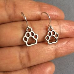 Paw Earrings Silver Paw Earrings Sterling Silver by Instyleglamour