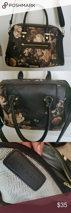Steve Madden Floral Purse Brand: Steve Madden Color: Black ground and Multi color print, Gold accents Has two shoulder straps and an adjustable long strap for a crossbody option. This purse has only been used a few times and has otherwise been stored. Has an inner and outer zipper pocket.Also has open pockets on the inside. Steve Madden Bags Satchels