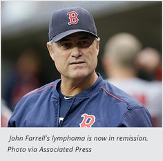 Red Sox Manager John Farrell's Lymphoma is in Remission.