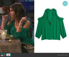 4143088c94b1 Hope s green cold shoulder ruffle top on Days of our Lives. Outfit Details   https