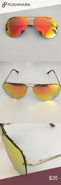 QUAY Australia orange chrome sunglasses large chrome lenses. light gold frames with brown ends. good condition, some scratches on lenses but not noticeable. price negotiable Quay Australia Accessories Sunglasses