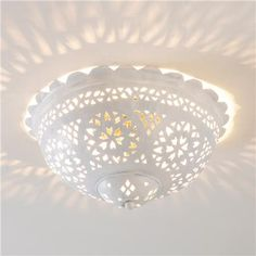 Moroccan Scalloped & Punched Metal Ceiling Light (white or bronze) $199
