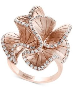 Pave Rose by Effy Diamond Flower Ring (9/10 ct. t.w.) in 14k Rose Gold - Gold