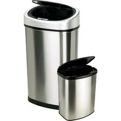 nine stars 13gallon slim 2gallon trash can combo set stainless