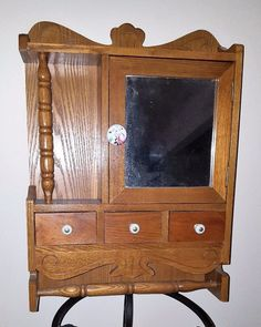Artist-Made Antique Wooden Medicine Cabinet: Mirror, Towel Rack, Drawers #JeannaDysartDesigns #Americana #Unknown