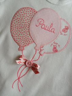 Aplike tişört...pretty appliqué balloons tied with a silk ribbon. Mais