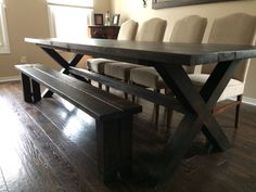 Custom handmade 9ft harvest table with bench. Finished in verathane chocolate.