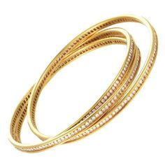 Pre-owned Cartier 18K Yellow Gold Diamond Pave Bangle Bracelet (236,545 GTQ) ❤ liked on Polyvore featuring jewelry, bracelets, 18 karat gold jewelry, hinged bangle, gold bangles, gold jewellery and bangle bracelet