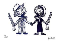 Bonnie and Clyde Calaveras Gocco Print by misnopalesart, via Flickr!!!!!