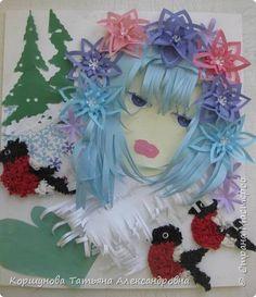 Картина панно рисунок Новый год Аппликация Девушка - зима Бумага