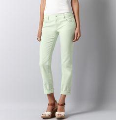 Loft Straight Leg Rolled Jeans in Mint