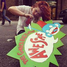 Maddy Rita Fae working on the monkey logo #popup2012