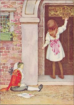 """""""Alice went timidly up to the door, and knocked.""""  Art: Millicent Sowerby, London: Chatto & Windus, 1907"""