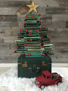 Collect Books for a DIY vintage inspired book Christmas tree. Simply stack them and add a few ornaments. This one was perfectly sized for a mantel! Recycled Christmas Tree, Book Christmas Tree, Book Tree, Christmas And New Year, Vintage Christmas, Christmas Holidays, Christmas Crafts, Merry Christmas, Christmas Decorations