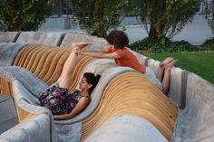 Urban Movement Design debuts UNIRE/UNITE at MAXXI (25) timber slats concrete formwork sinuous seating