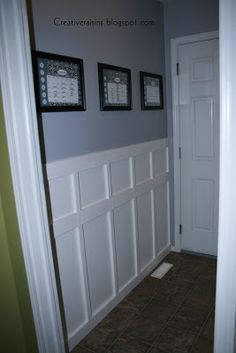 Creative Raisins: Garage Entry Part 3 and a Feature Front Hallway, Garage Entry, Entry Doors, Trim Work, Building A New Home, Laundry Room Design, Diy Home Decor, Sweet Home, New Homes